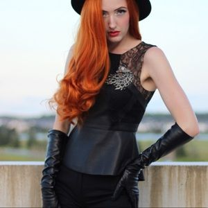 BCBG Leather & Lace Top